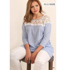 Sky 3/4 Sleeve Striped Tunic w/Crochet Lace Neckline