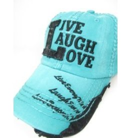 Live Laugh Love Ball Cap Turquoise