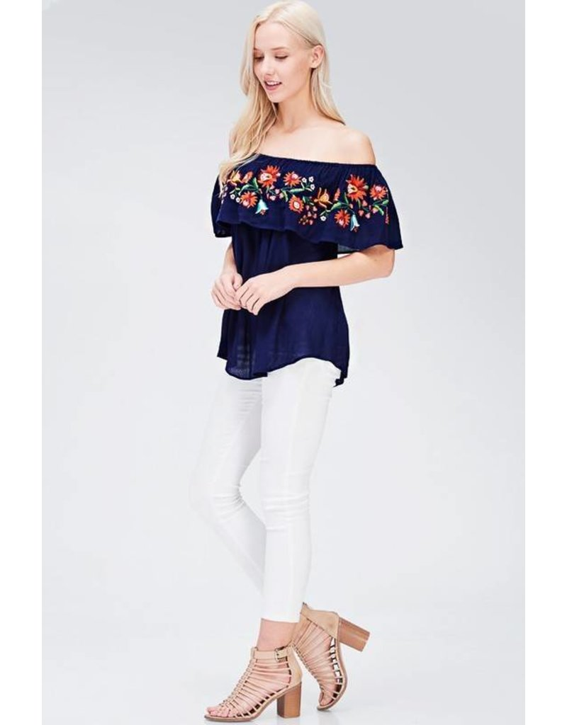 Embroidered Off Shoulder Top (Navy)