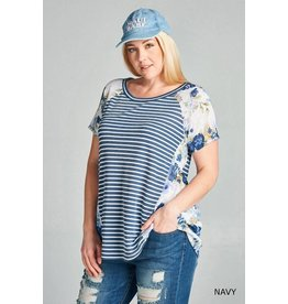 Navy Floral & Pencil Stripe French Terry Top