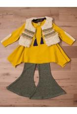 Fur Vest w/ Tunic & Pants Mustard/Green