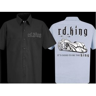 Nasty Baggers Work Shirt Road King Pride Navy Pinstipe