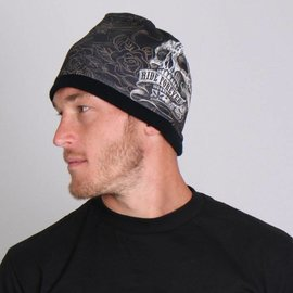Hot Leather Cotton Beanie Banner Skull