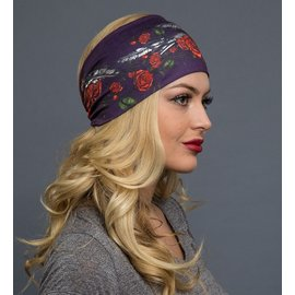 Hair Glove EZ Band Rose & Feathers Purple