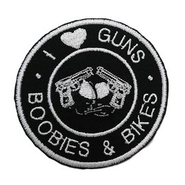 Route 66 Biker Gear Patch I Love Guns Boobs Bikes 3in