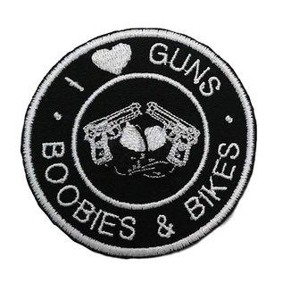 Route 66 Biker Gear Patch I Love Guns Boobs Bikes 3in