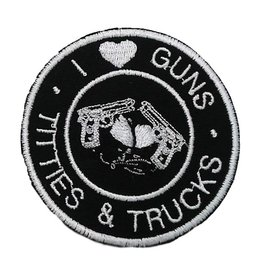 Route 66 Biker Gear Patch I Love Guns Titties Trucks 3in
