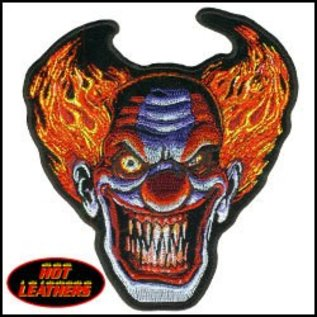 Hot Leather Patch Angry Clown 5in