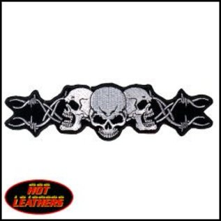 Hot Leather Patch Barbed Wire Skulls 7in