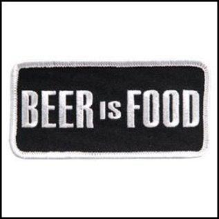 Hot Leather Patch Beer Is Food 4in