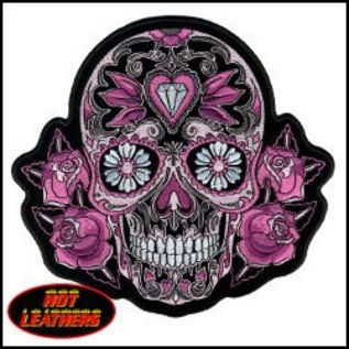 Hot Leather Patch Color Sugar Skull 4in