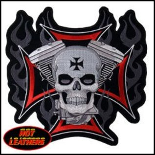 Hot Leather Patch Cross Skull Flames Engine11in