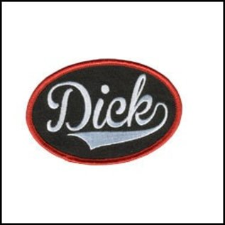 Hot Leather Patch Dick Name Tag 4in