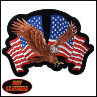 Hot Leather Patch Eagle 2 Flags 12in