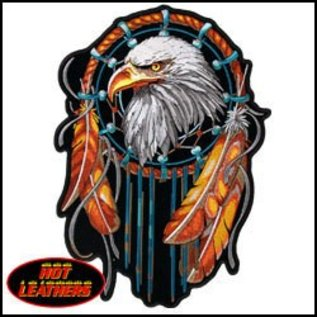 Hot Leather Patch Eagle Dream Catcher 6in