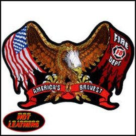 Hot Leather Patch Eagle Flag Fire Dept 11in