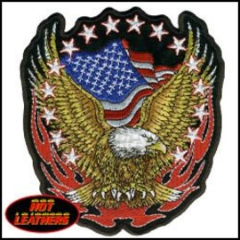 Hot Leather Patch Eagle Flag Flame Stars 12 in