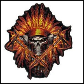 Hot Leather Patch Flame Headress 6in