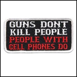 Hot Leather Patch Guns Dont Kill People 4in