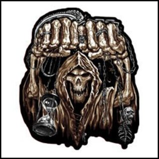Hot Leather Patch Huge Fist Skull 5in