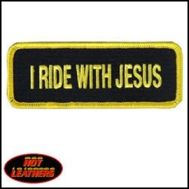 Hot Leather Patch I Ride With Jesus 4in