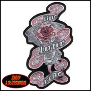 Hot Leather Patch Live Love Ride Motor Rose 3in