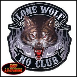 Hot Leather Patch Lone Wolf Full Face 10in