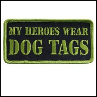 Hot Leather Patch My Heroes Wear Dog Tags 4in