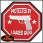 Hot Leather *DISCV Patch Protected By Loaded Guns 3in
