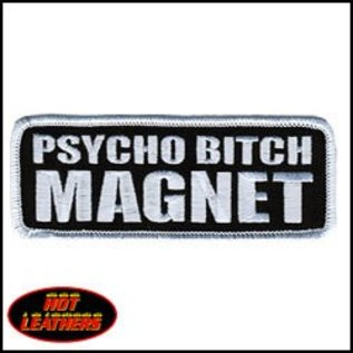 Hot Leather Patch Psycho Bitch Magnet 4in
