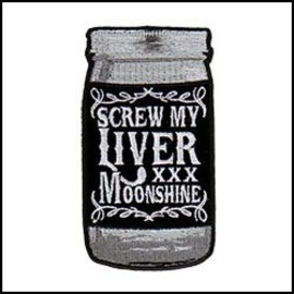Hot Leather Patch Screw My Liver 4in