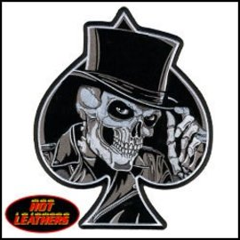 Hot Leather Patch Top Hat Skull 4in
