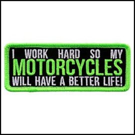Hot Leather Patch I Work Hard Motorcycle 4in