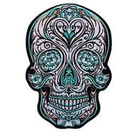 Hot Leather Patch Color Blue Sugar Skull 4in