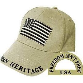 Eagle Emblems Hat American Flag Beige