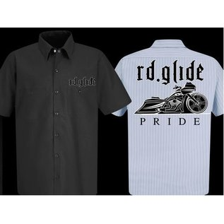 Nasty Baggers Work Shirt Road Glide Pride White Charcoal Pinstripe