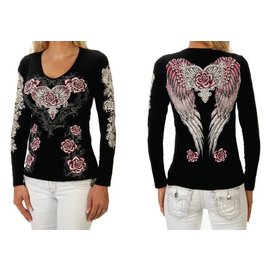 Liberty Wear Shirt LS Black w/ Pink Rose Wings L