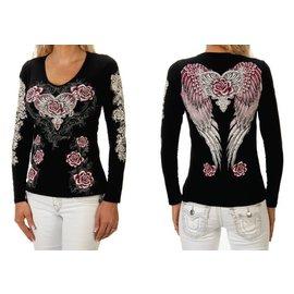 Liberty Wear Shirt LS Black w/ Pink Rose Wings M