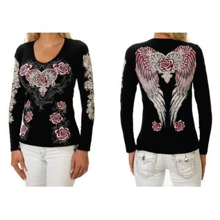 Liberty Wear Shirt LS Black w/ Pink Rose Wings M