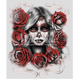 Route 66 Biker Gear Shirt Skull Girl W/ Roses