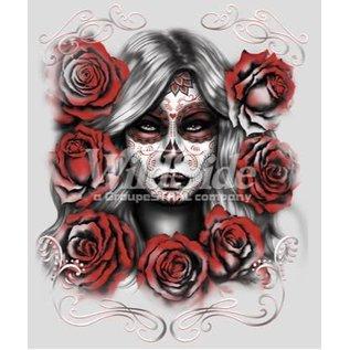 Route 66 Biker Gear Shirt Skull Girl W/ Roses