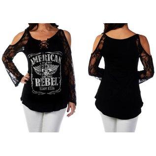 Liberty Wear Shirt LS American Rebel Lace Sleeve