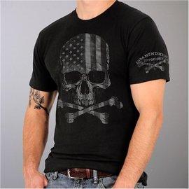 Hot Leather Shirt Military Skull Flag