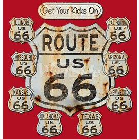 Route 66 Biker Gear Shirt Route 66 Aged Signs