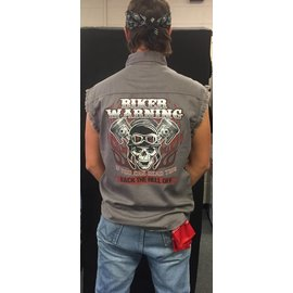 Route 66 Biker Gear Sleeveless Denim Biker Warning