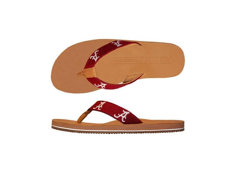 Smathers & Branson University of Alabama Needlepoint Flip Flops