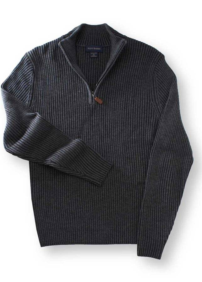 Scott Barber Oxford Grey Merino Ribbed Zip Mock