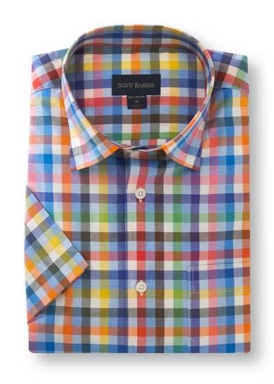 Scott Barber Chelsea Plain Weave in Multi-Colored Check Shirt