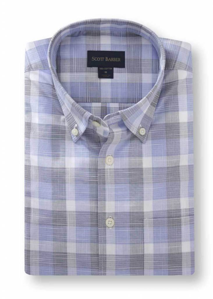 Scott Barber Navy, Soft Blue and White Textured Plaid Shirt