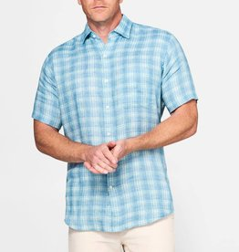 Peter Millar Peter Millar Ocean Blue Plaid Short-Sleeve Sport Shirt
